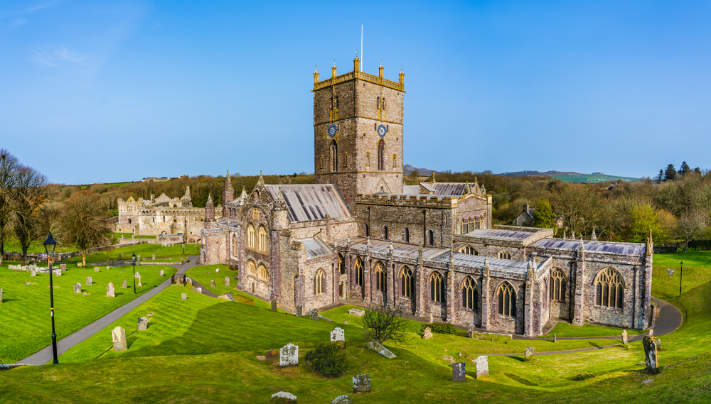 St Davids, Pembrokeshire, Wales, UK: Panoramic view of St David's Cathedral