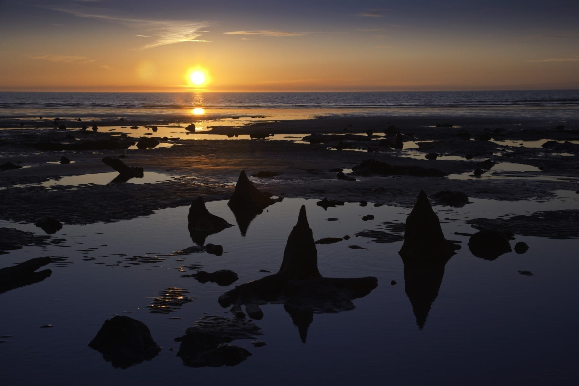 Wales beach at sunset
