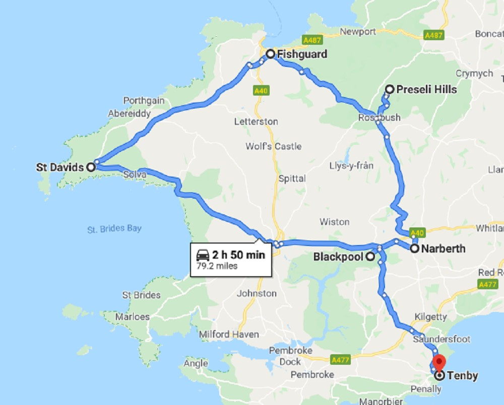 Pembrokeshire Road Trip Map
