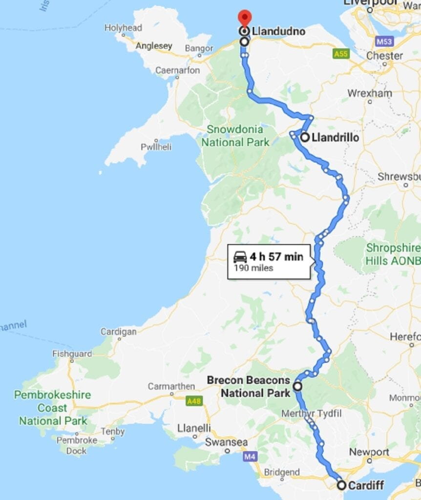 Wales South Coast to North Coast Road Trip Map