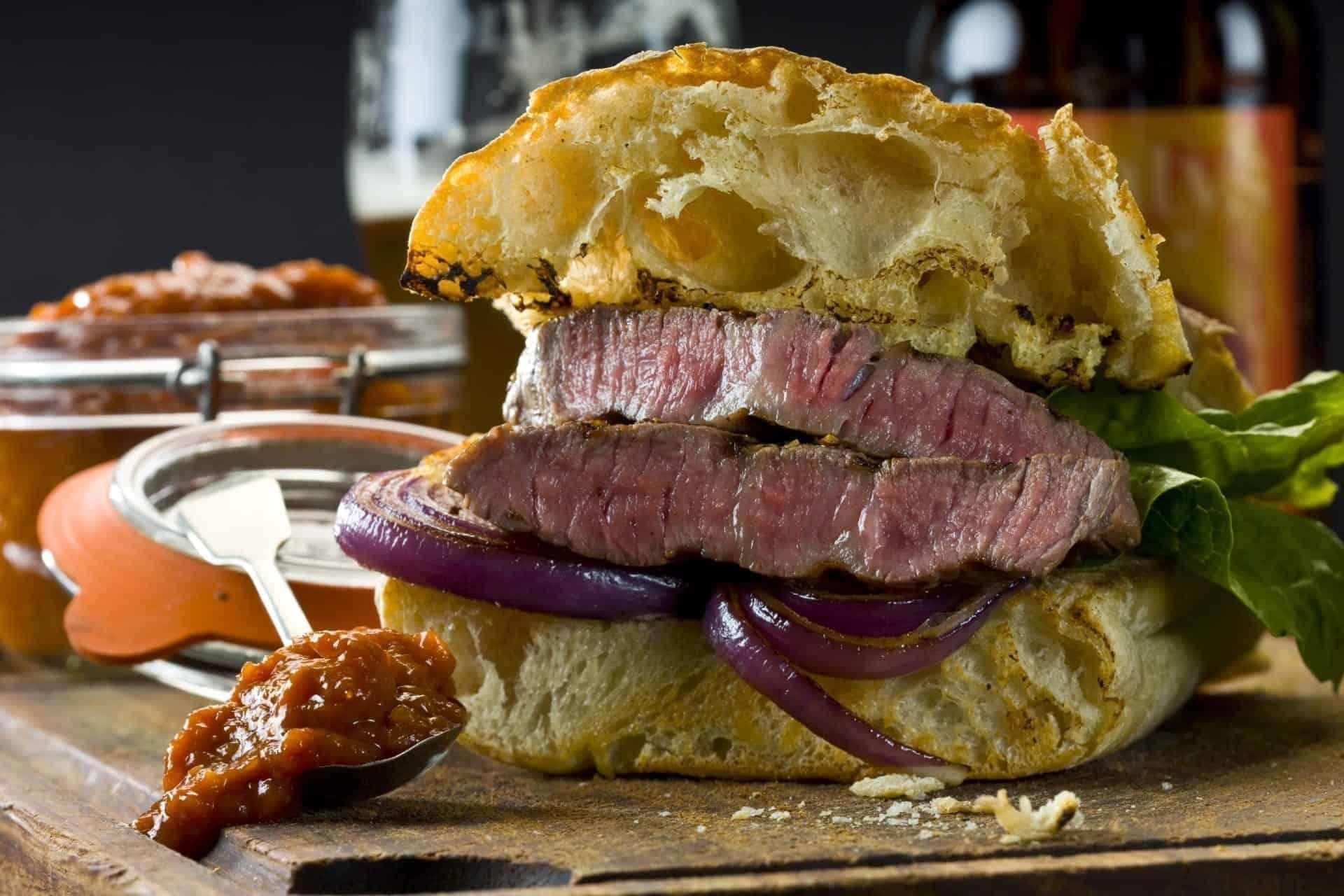 A burger with Chutney Relish