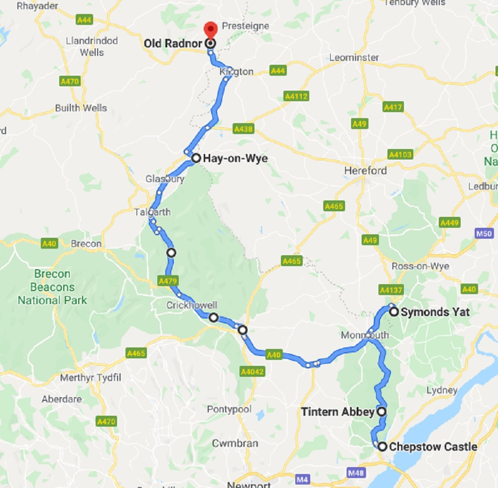 The Welsh-English Border Road Trip Map