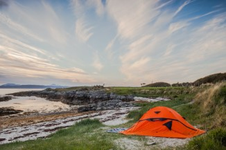 orange tent near the beach in Wales
