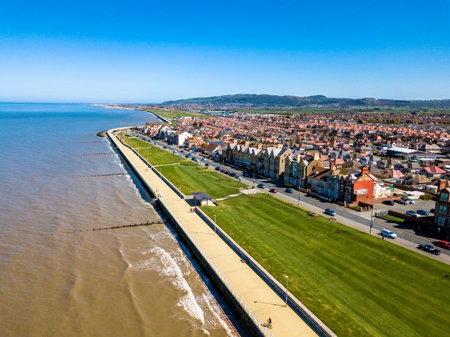 Aerial view of the Rhyl Seafront, North East Wales