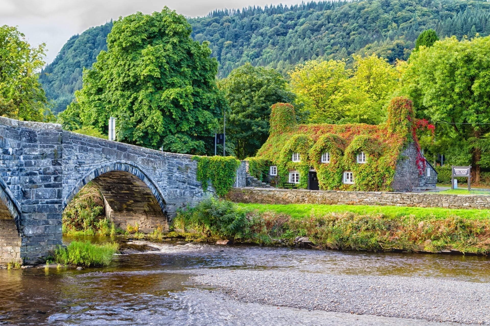 Pont Fawr, famous medieval stone bridge across the river Conwy